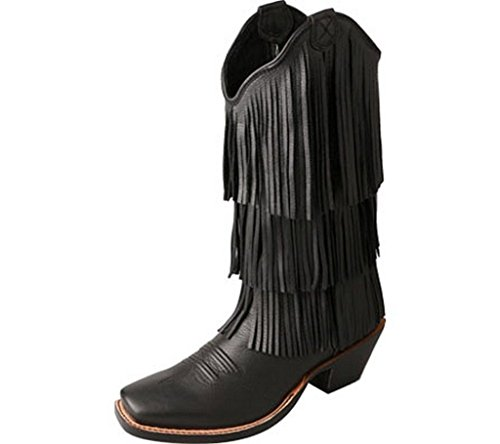 Twisted X Womens Black Leather 13in Deertan Steppin Out Cowboy Boots 9B