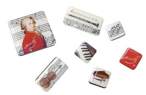 Fridolin 18421 Mozart Art Magnet in Metalldose, transparent/Mehrfarbig 9,5 x 7 x 2 cm 7 teilig