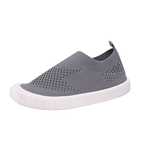 Image of Zeetoo Boys Girls Mesh Sneakers Running Shoes Breathable Loafer Slip on Walking Shoes 169 Grey