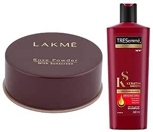 Lakme Rose Face Powder, Warm Pink, 40g & TRESemme Keratin Smooth Shampoo, 340ml
