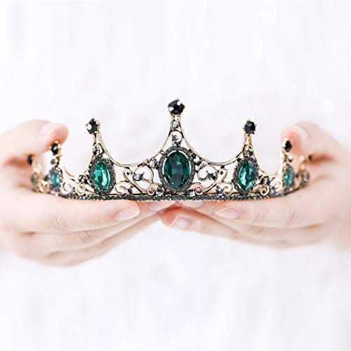 Catery Baroque Crowns Green Bride Queen Tiaras and