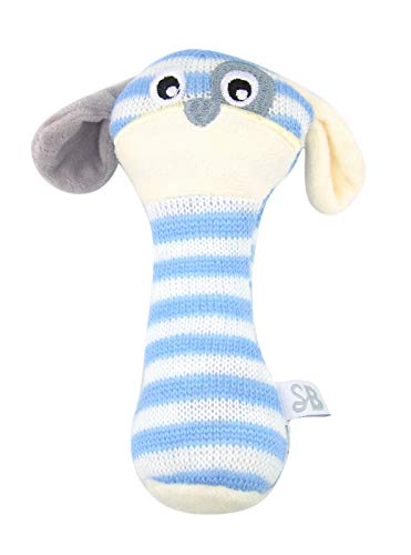 Baby Rattle Toys Striped Blue Knit Puppy Dog Plush, 6 Inch
