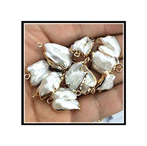 4 Pieces Nature Biwa Pearl Cultured Freshwater Pearl connectors with Golden Color Size 10-15mm White Pearl Good Quality