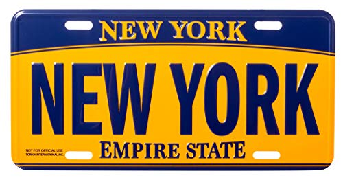 Artisan Owl New York Empire State Blue and Gold Souvenir License Plate (Decorative License Plate New York)