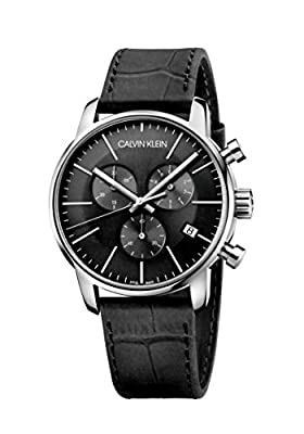Calvin Klein Men's Stainless Steel Swiss Quartz Watch with Leather Strap, Black, 22 (Model: K2G271C3)