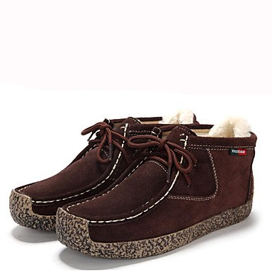 WSX&PLM Da donna-Stivaletti-Casual-Comoda-Piatto-PU (Poliuretano)-Nero Marrone Rosso , dark brown , us7.5 / eu38 / uk5.5 / cn38