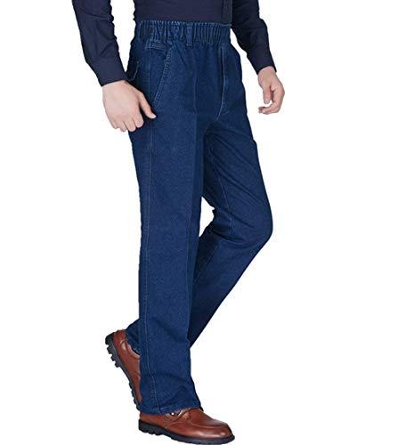 Classiche Alta Blau Vintage Elasticizzati Jeans Da Pantaloni Bassa A Ragazzi Gamba Larga Uomo Vita UgHH4q0