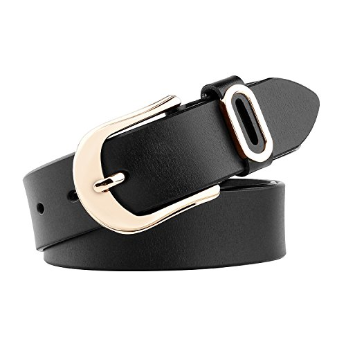 Whippy Women Casual Leather Belt for Jeans, 1.2 Inch Wide with Golden Buckle (Buckle Jeans Belt)