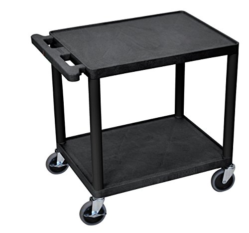 Offex Mobile 2 Shelf Adjustable Storage Utility Cart with Electric, 4 Casters - Black (OF-LP26E-B) by Offex