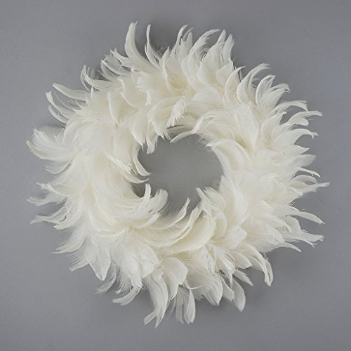 (ZUCKER White Goose Feather Christmas Wreath - 12