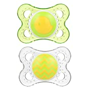 MAM Pacifiers, Baby Pacifier 0-6 Months, Best Pacifier for Breastfed Babies, 'Clear' Design Collection, Unisex, 2-Count