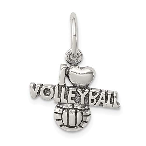 - Jewel Tie Sterling Silver Antique I (Heart) Volleyball Charm - (0.59 in x 0.67 in)