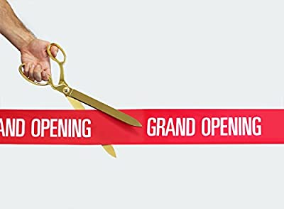 "FREE Grand Opening Ribbon with 15"" Gold Plated Ceremonial Ribbon Cutting Scissors"