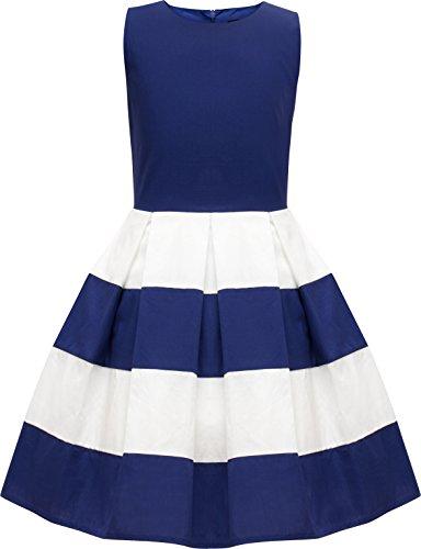 BlackButterfly Kids 'Lilly' Vintage Striped 50's Children's Girls Dress (Royal Blue, 11-12 YRS)