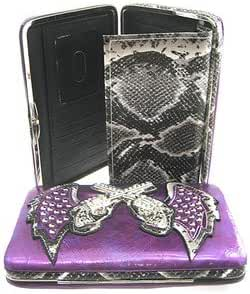 Guns w/ Angel Wings Flat Wallet Clutch Purse Snakeskin Trim