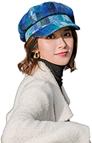 Women Cap,Women Autumn Fashion Casual Cotton Retro Plaid Octagonal Newsboy Cap Beret Hat