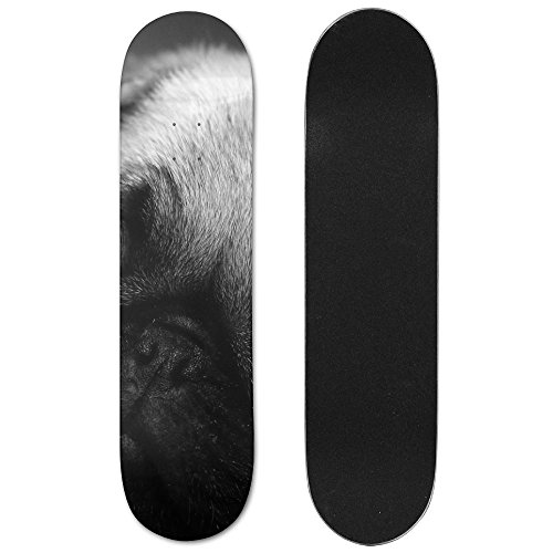 Funny Pug Face Vogue Double Warped Skateboard Deluxe Longboard Skate - Of Vogue Face