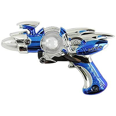 Rhode Island Novelty Super Spinning Laser Space Gun with LED Light & Sound( Colors May Vary ): Toys & Games