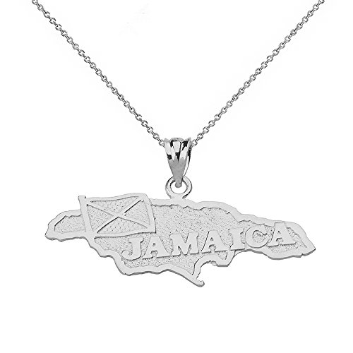Jamaica Country Map Charm Pendant Necklace in Sterling Silver, 22""