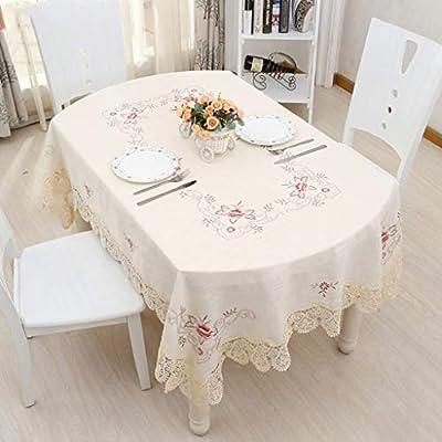 MJK Manteles, manteles de estilo europeo, tela de algodón bordada Mantel, manteles redondos, manteles de mesa
