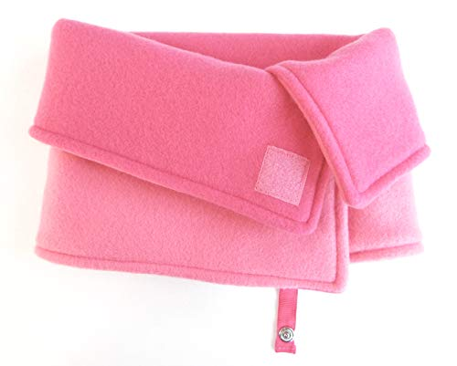 (Kids Reversible Fleece Face/Neck Warmer Winter Scarf Neck Gaiter Pink/Fuchsia with Jacket Strap by Toasty Ladybug )