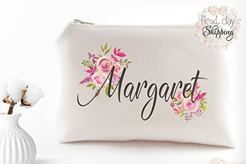 Personalized makeup pouch - Custom bridesmaid makeup bag gift by My Wedding Flare