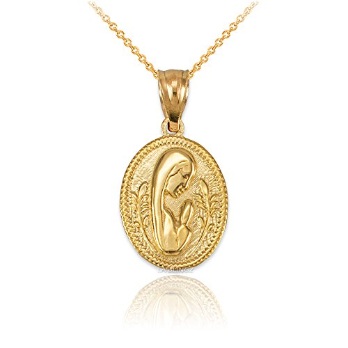 Religious Medallion Mary - LA BLINGZ 14K Yellow Gold Praying Virgin Mary Medallion Charm Necklace (16)