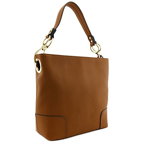 Patent Leather Large Hobo (Large Hobo Shoulder Bag with Big Snap Hook Hardware Light Brown)