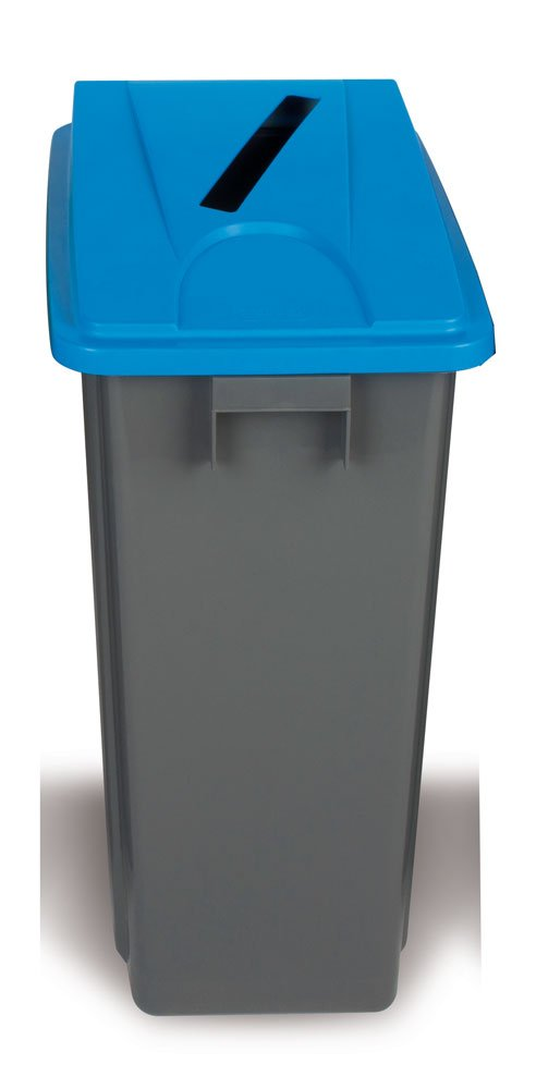 RECYCLING BIN GREY/BLUE LID FOR WASTE PAPER, 80LT - POLYPROPYLENE BY CHABRIAS LTD