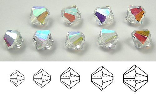 6mm Crystal AB, Czech MC Rondell Bead (Bicone, Diamond Shape), 12 pieces