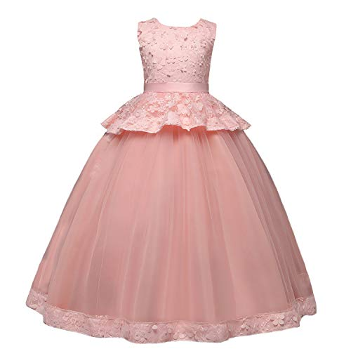 TTYAOVO Girls Lace Princess Pageant Ball Gowns Wedding Party Dress Size 6-7 Years Pink
