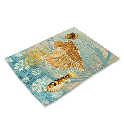 - Marine Sea Conch Pattern Linen Table Placemats Home Accessories Kitchen Dining Pad Coffee Tea Place Mats Coasters,Pattern 16