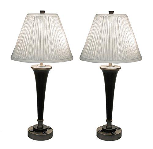 Pair Of Black Brass Finish Modern Dual Light Table Lamp W Power