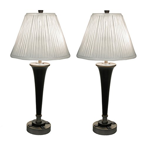 Metal Table Lamps Pair Of Black & Brass Finish Modern Dual Light Table Lamp W/Power Outlets 15 X 31 X 15 Inches Gold by Zeckos