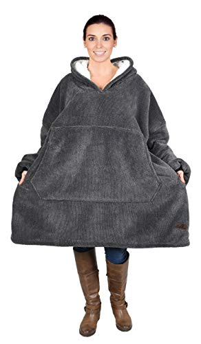 Catalonia Oversized Hoodie Blanket Sweatshirt,Super Soft Warm Comfortable Sherpa Giant Pullover with Large Front Pocket,for Adults Men Women Teenagers Kids,Ash (Best Places In Catalonia)