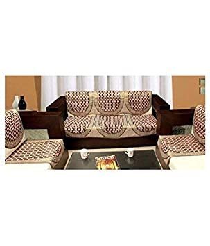 Rinki Home Furnishing Cotton Sofa Cover and Chair Cover Set (Set of 6) Multi
