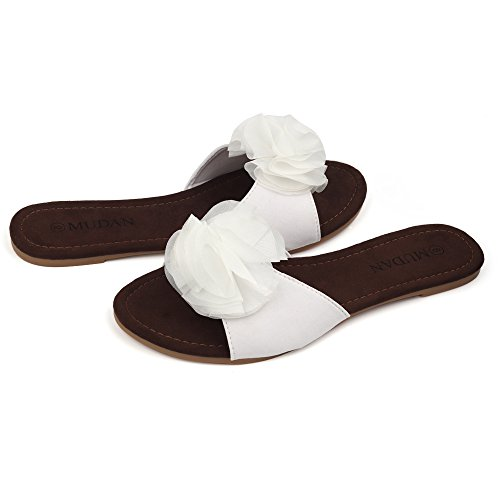 Sandals MuDan White Floral Women's Flat xSwZgfY