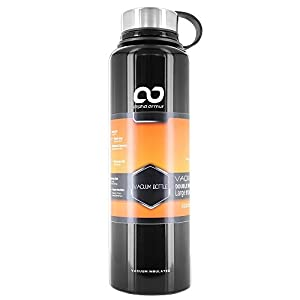Alpha Armur 50 Oz (1.5L) Double Wall Vacuum Insulated Stainless Steel Water Bottle with Wide Mouth, Black