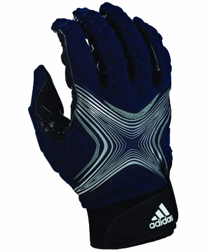 Navy Receiver Gloves (adidas Powerweb 2.0 Football Receiver Gloves, X-Large, Navy/Silver)