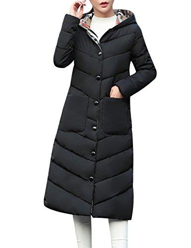 Tanming Women's Winter Warm Cotton Padded Long Coat Outerwear (Medium, Black)