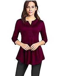 Women's 3/4 Sleeve Mandarin Collar Casual Henley Blouse Shirt Button Neckline Curved Hem Tunic Tops