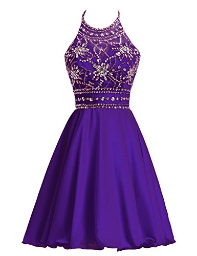 Belle House Purple Short Beaded Colorful Crystals Homecoming Graduation Dresses For Juniors And Teens