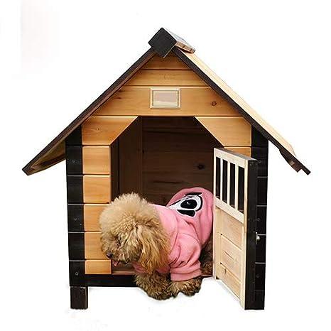 QNMM Casa De Perro De Mascota Casa De Perro De Madera Al Aire Libre/Interior