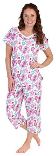 Sleepwear Petite (Sleepyheads Women's Sleepwear Cotton Short Sleeve V-Neck Top and Capri Pajama Set (SHCJ1730-4072-XL))
