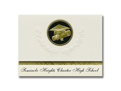 Signature Announcements Seminole Heights Charter High School (Tampa, FL) Graduation Announcements, Presidential Elite Pack 25 Cap & Diploma Seal. Black & Gold.