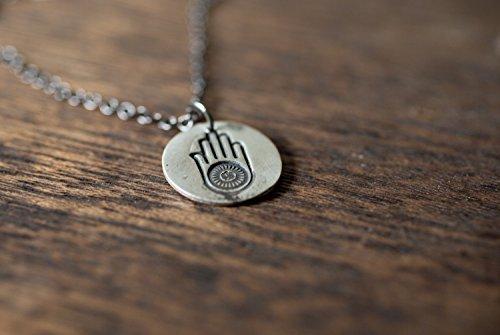 hamsa ahimsa necklace - hamsa necklace - yoga necklace - hamsa charm - hamsa jewelry - hamsa pendant - sterling silver - truche (Ahimsa Necklace)