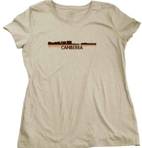 Canberra, Australia City Skyline Ladies Cut T-shirt - Aussie Civic Pride Tan Tee - Canberra Civic