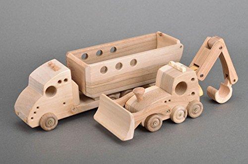 Excavator Eco Truck - Set of 2 Handmade Children's Wooden Toys Dump Truck and Excavator eco Friendly