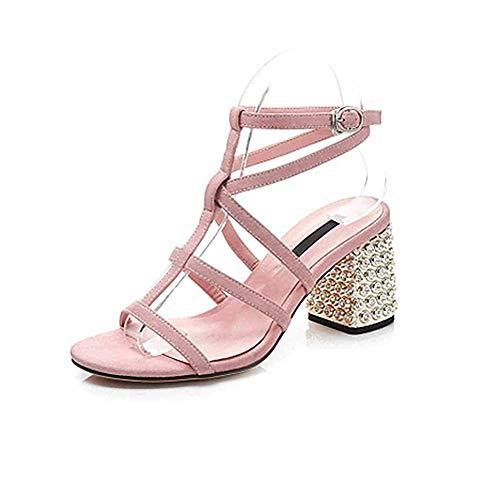 Anchengkao 36 Sort Tå Sandaler Hæl Efterligning farve Store Pelele Pink Eu Får Huden Diamanter Størrelse rwR7Frq