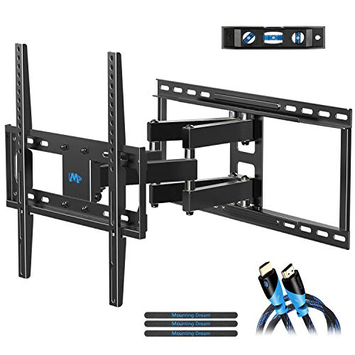 Mounting Dream TV Mount Bracket Full Motion TV Wall Mounts for 26-55'' LED, LCD, OLED Flat Screen TV, Wall Mount TV Bracket up to VESA 400 x 400mm 99 lbs. Fits 16'', 18'', 24'' Wood Studs MD2380-24